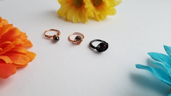 Size 5 Reiki Crystal Rings | Handmade Wire Wrapped Copper Ring with Stone Bead |