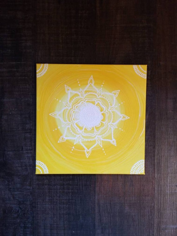 Solar Chakra Mandala | Intention Mandala Series | Reiki Charged Acrylic Painting | Home Decor | Sacred Space Art