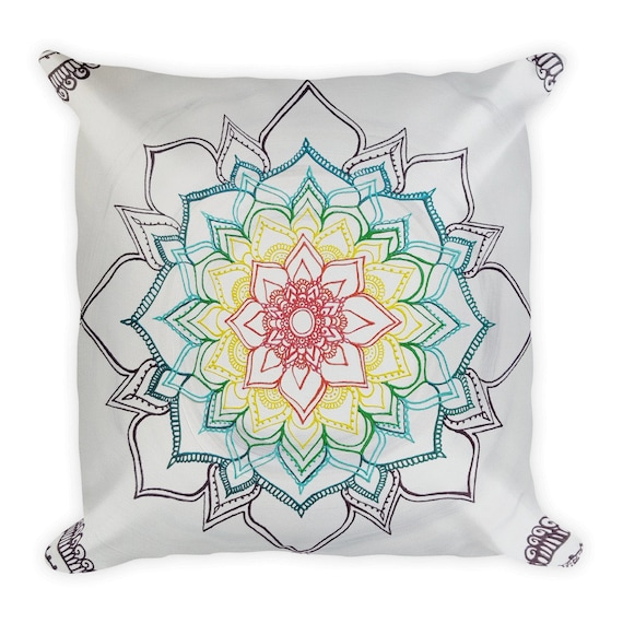 Warm Winter Chakra Mandala pillow | Intuitive Freehand Mandala Art Print | Reiki Energy Blessed Artwork| Rainbow