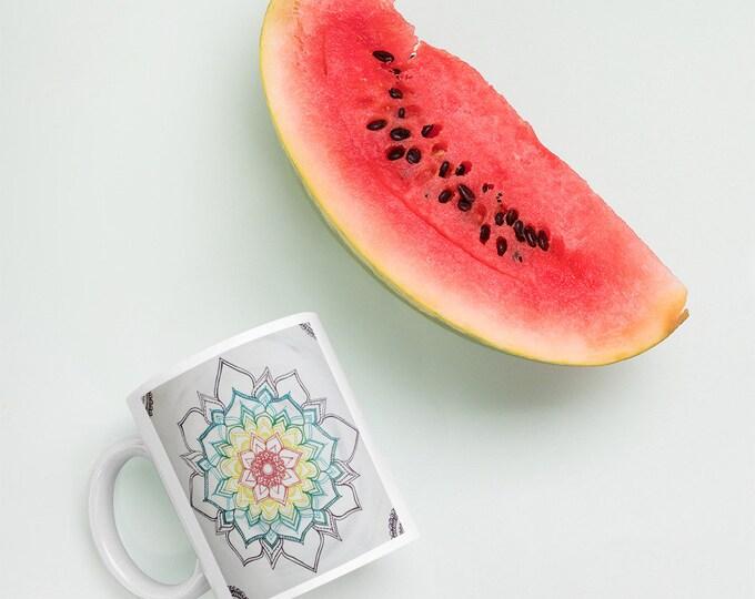 Feeling High Vibrations Coffee Cup | Warm Winter Chakra Mandala Mug| Intuitive Freehand Mandala Art Print | Reiki Energy Blessed Artwork| Ra