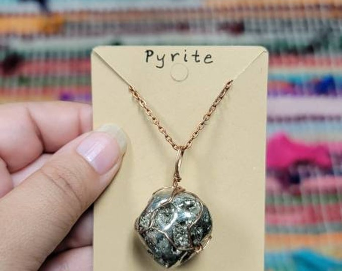 Pyrite Copper Wrap Necklace   Reiki Infused Solar Plexus Chakra Crystal Jewelry   Protection, abundance and luck Intention