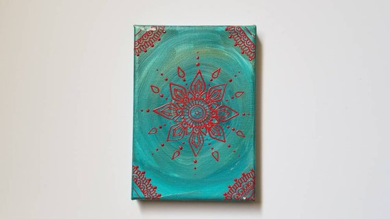 Red Crystal Mandala Original Acrylic Painting| 5×7 Original Canvas | Red and Blue Freehand Art | Home Decor| Reiki Blessed