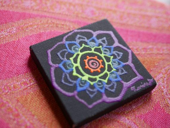 Rainbow Chakra Mandala on a Black Mini Canvas | 2.5×2.5 Original Painting | Artwork Room Decor