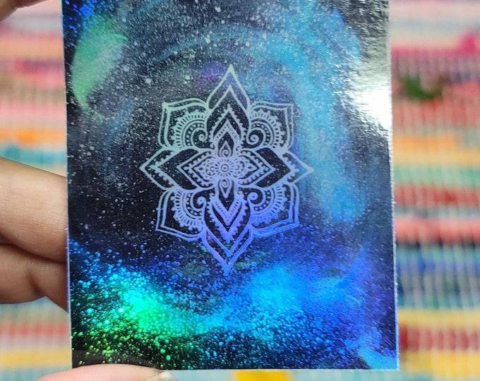 """Galaxy Mandala 3"""" Sticker   Waterproofs Holographic Sticker   Mandala Print"""