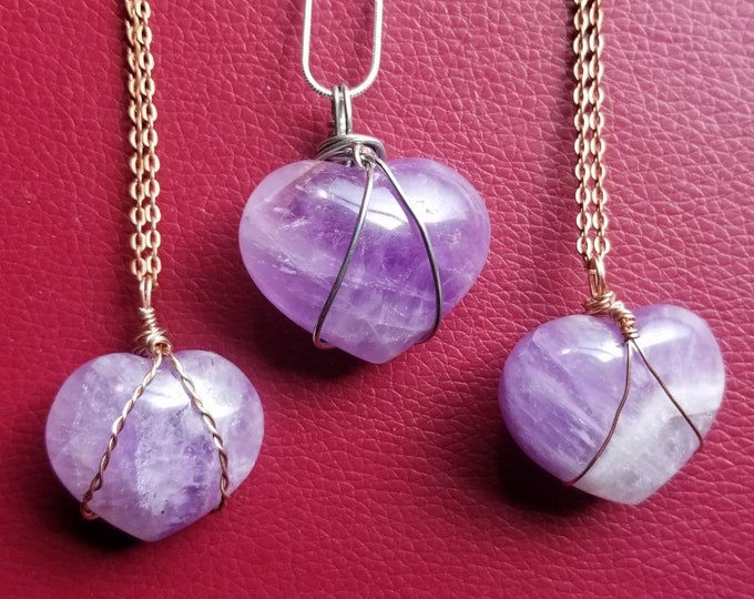 Amethyst Heart Necklace   Handmade Wire-Wrapped Crystal Jewelry   Reiki Infused   Crown Chakra   Healing & Intuition Intention