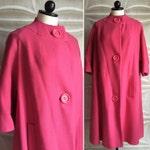 Watermelon pink sherbet 1960s mod spring wool coat 60s vintage mad men