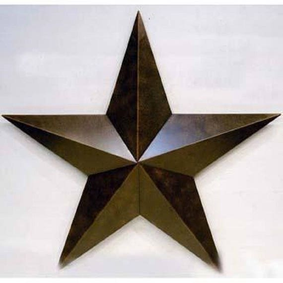 """Rustic Western Wall Decor 12/"""" 3D Metal Texas Barn Star With Rope Look Ring"""