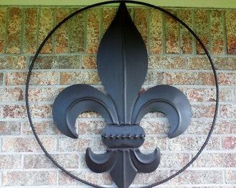 "24"",36"" Fleur De Lis Twisted Rope Ring Metal Art Wall Sign Western Home Decor Vintage Rustic Dark BROWN NEW"