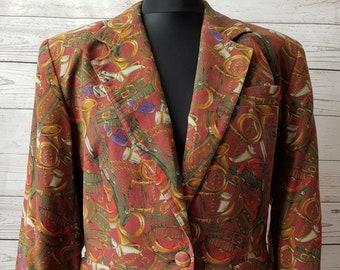 875f5fc0f64 Vintage 1970's 70's jacket heraldry horsebit themed print Cacharel French  designer blazer jacket UK size 10