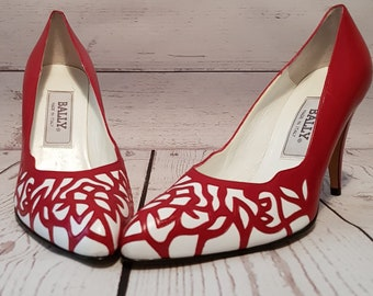 f3cc7d99708 Vintage 1980 s 80 s shoes as new unworn Bally red and white high heeled  court shoes UK size 5