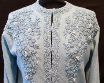 Vintage 1950's 50's powder blue cashmere beaded cardigan, sweater UK size 12 - 14