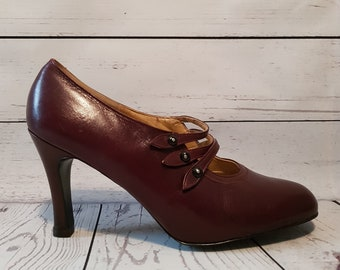 c3ba4830d5f5 Vintage 1970 s 70 s shoes as new unworn Bally plum purple high heeled mary  jane shoes Biba Ossie Clark UK size 9