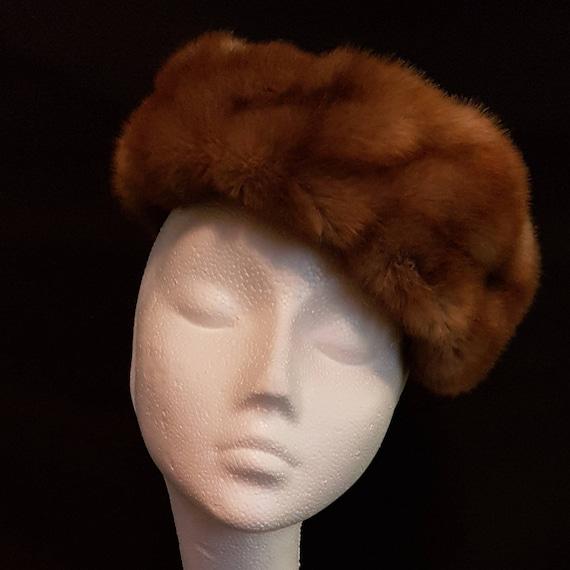 6322d8822 Vintage 1960's 60's hat light tan faux / fake fur, mink effect
