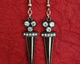 Gun metal dagger earrings