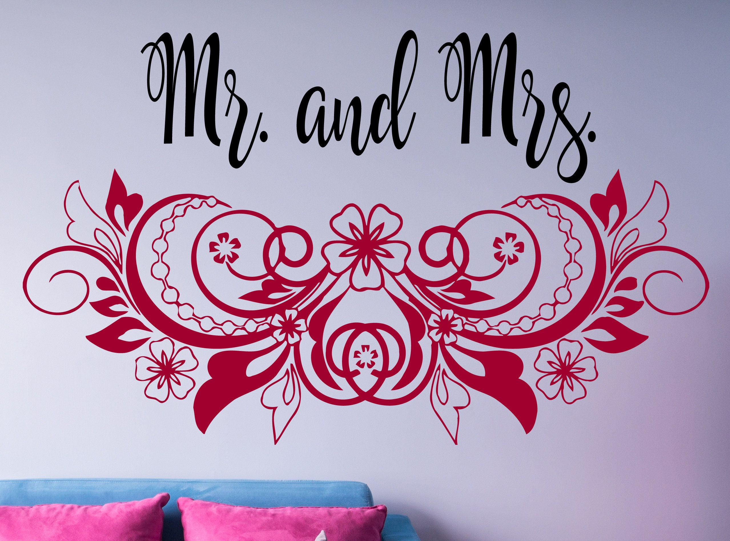 Mr And Mrs Wall Decal Custom Text Wedding Decor Bedroom Wall | Etsy