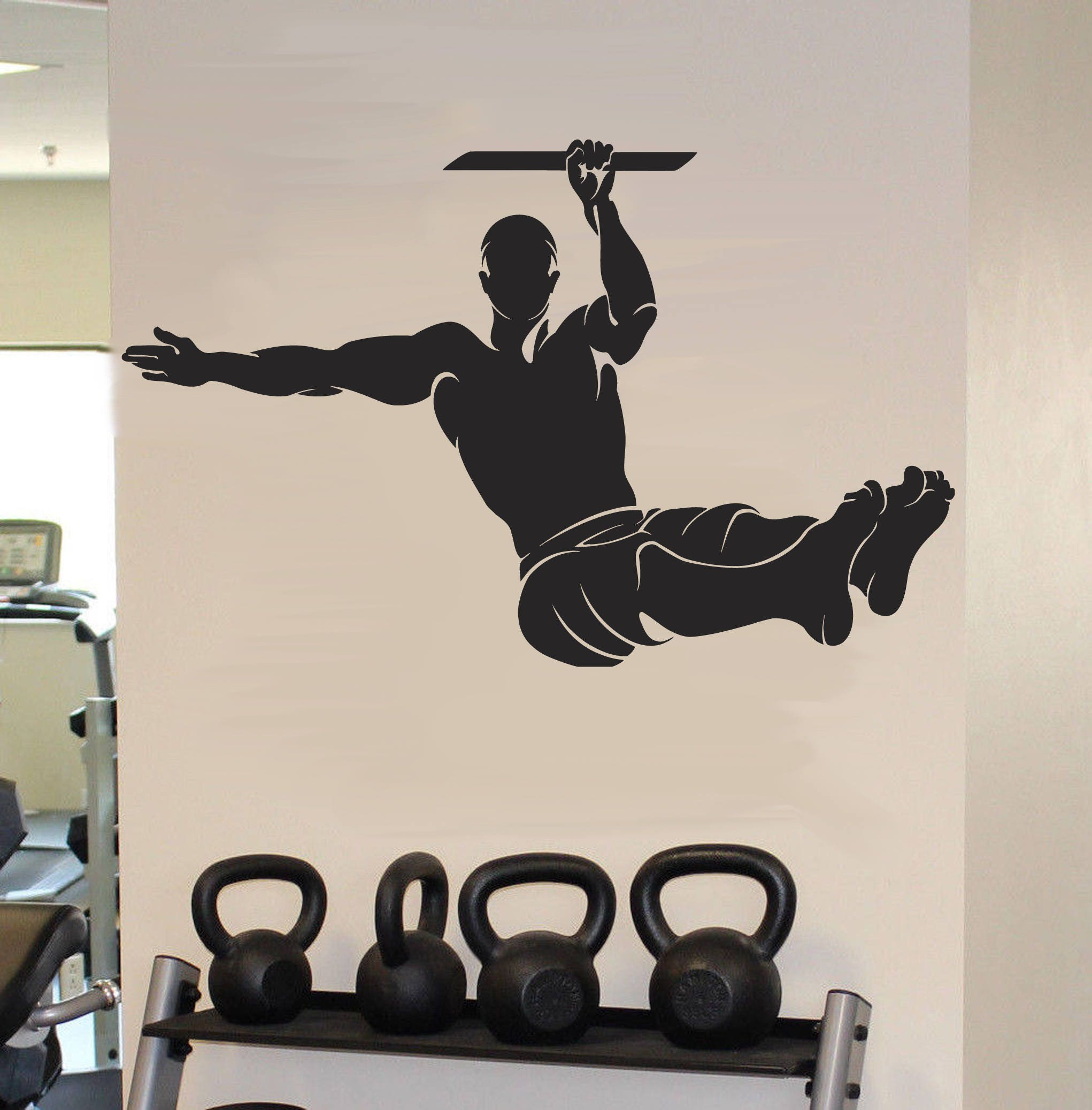 Street workout wall decals pull up exercise wall sticker etsy