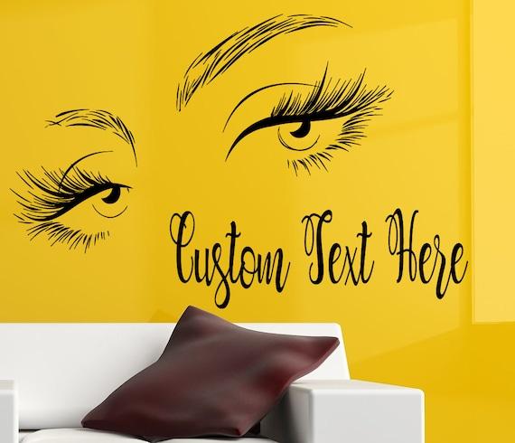 eyelashes eye wall decal custom text salon decal girls eyes   etsy