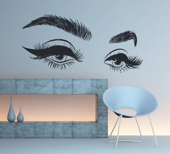 eyelashes wall decal sticker eyelashes wall decor girls eyes | etsy