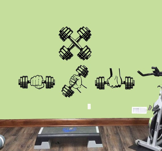 Dumbbells Set Workout Wall Decals Dumbbell Workout Wall | Etsy