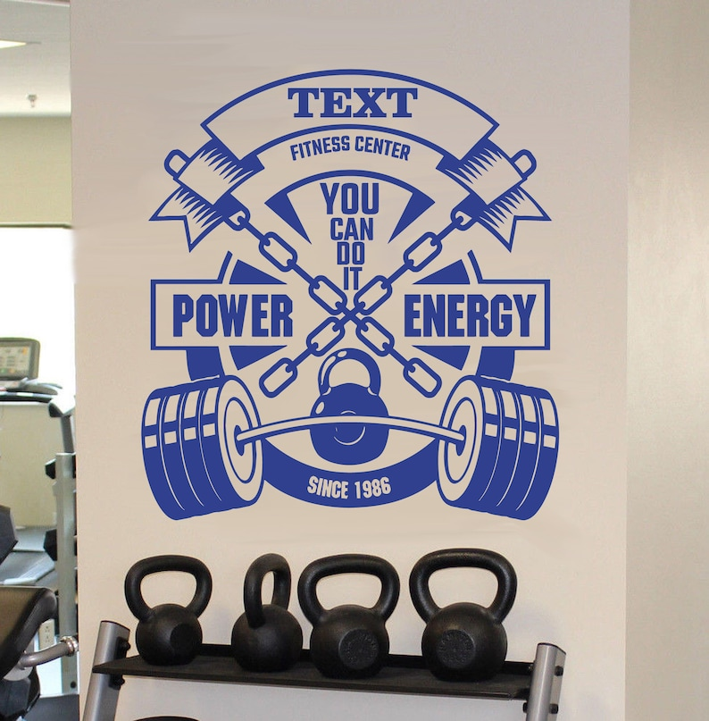 Personalized gym wall decal fitness center wall sticker etsy