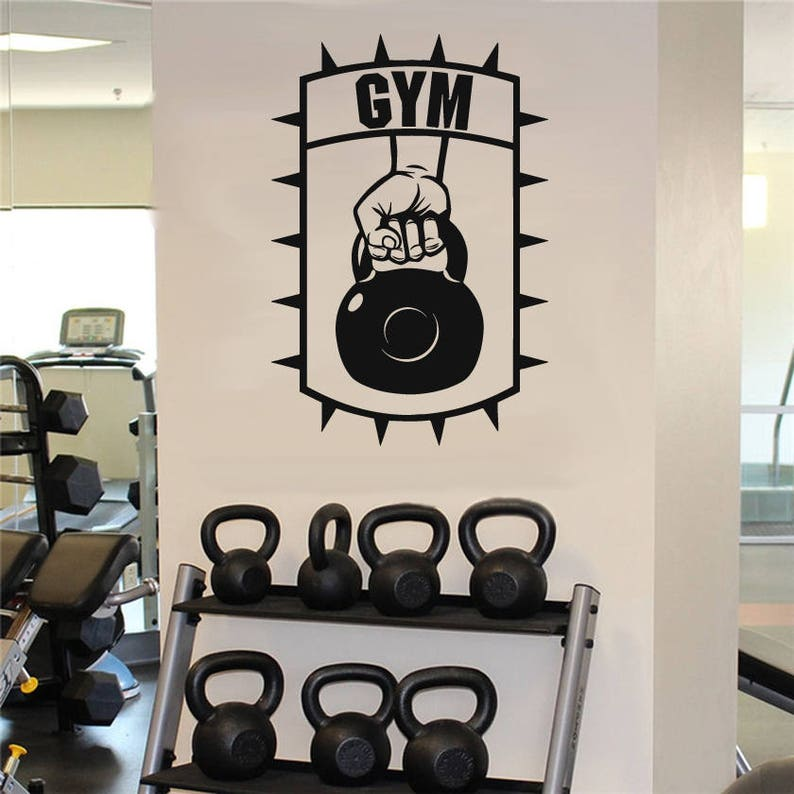 Dumbbell fitness wall decal gym dumbbell wall sticker garage etsy