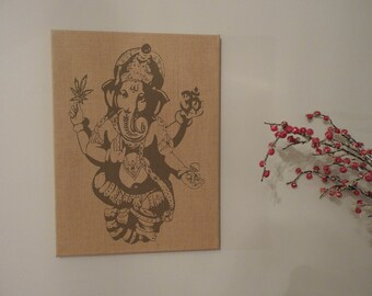 Wall Burlap Stretched Canvas Elephant Lord Ganesha Om Hindu Art Decor Print Rustic Style Gift bc008
