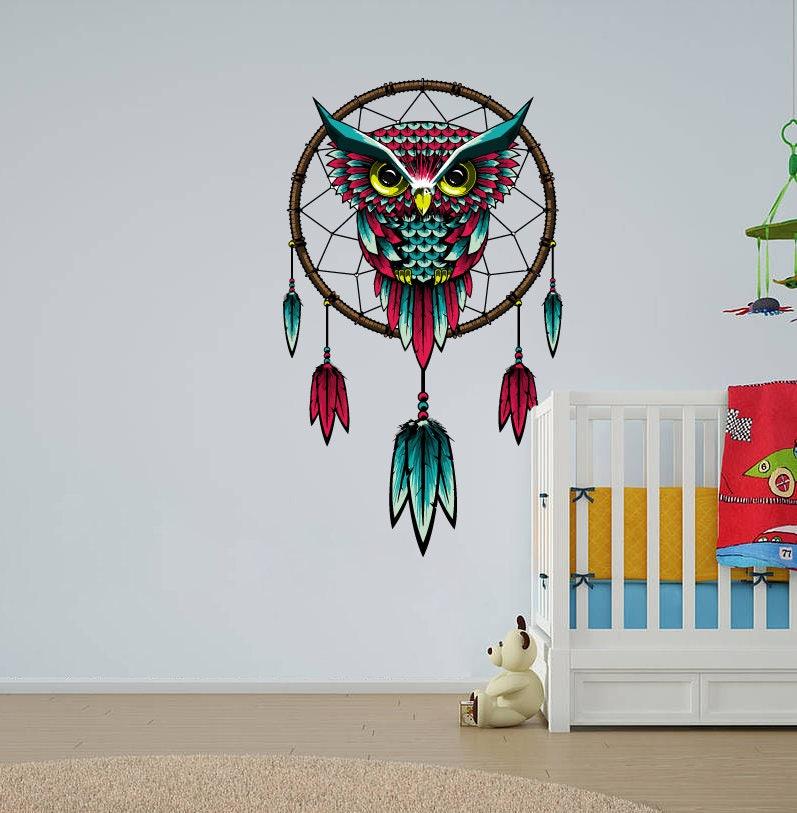 dream catcher owl wall decal dreamcatcher wall sticker owl | etsy