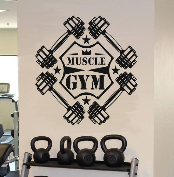 Workout Fitness Wall Decals Dumbbell Workout Wall Sticker | Etsy