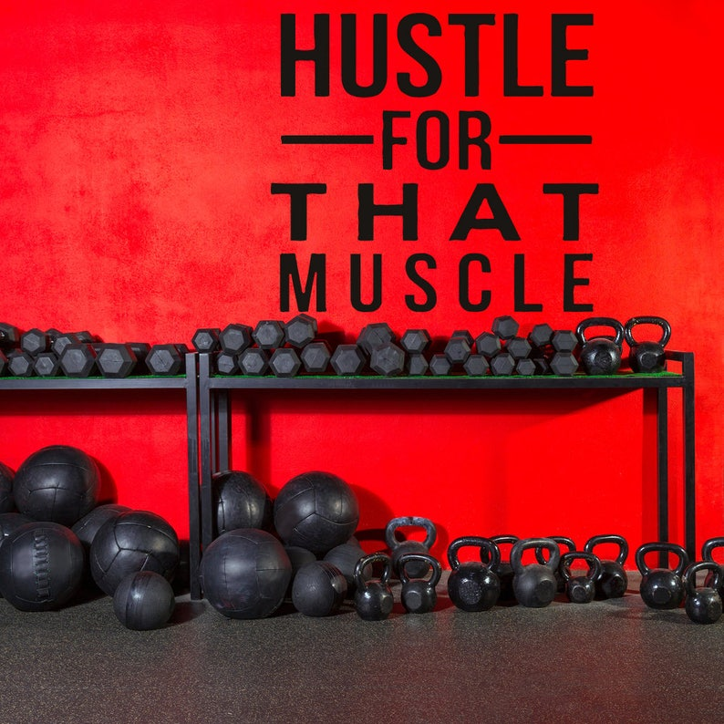 Gym wall decal inspirational quote work out quote muscle etsy