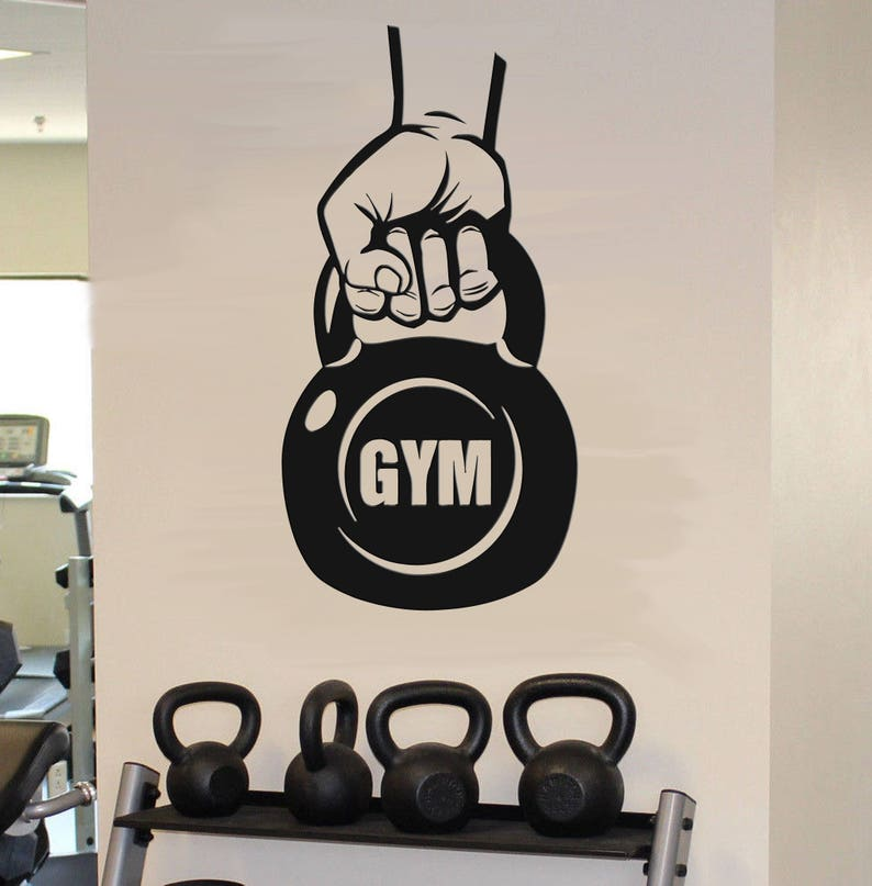 Kettlebell gym wall decals kettlebell workout fitness wall etsy