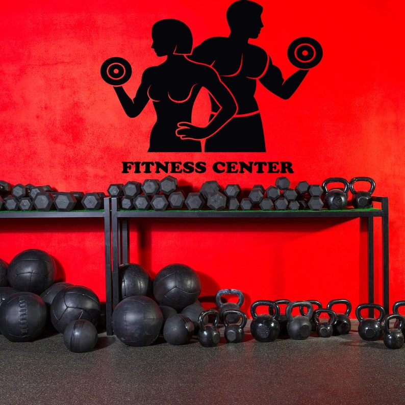 Custom gym wall decal fitness center wall sticker garage gym etsy