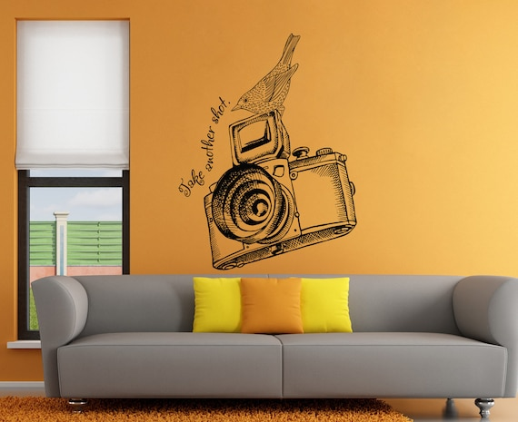 photo camera wall decal photo camera wall sticker vintage | etsy