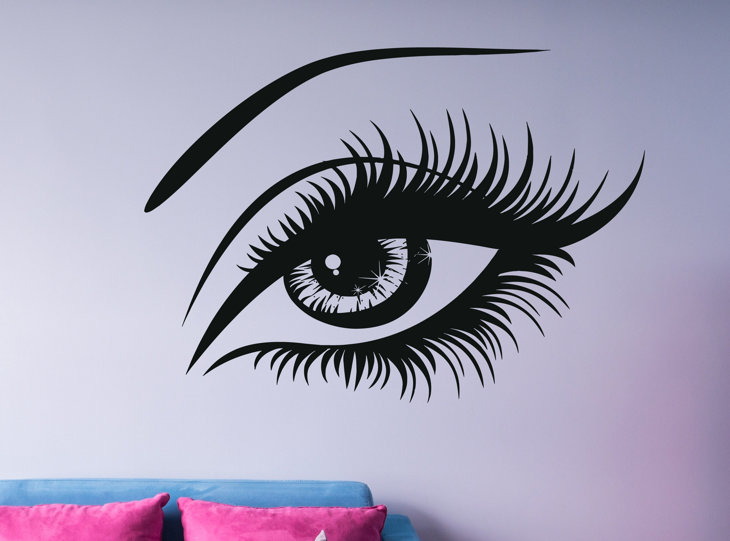 Eyelashes Wall Decals Girl Eye Decal Eyes Brows Decal Beauty Salon Decor Eyelashes Extensions Decal Fashion Decal Trending Art Nm083