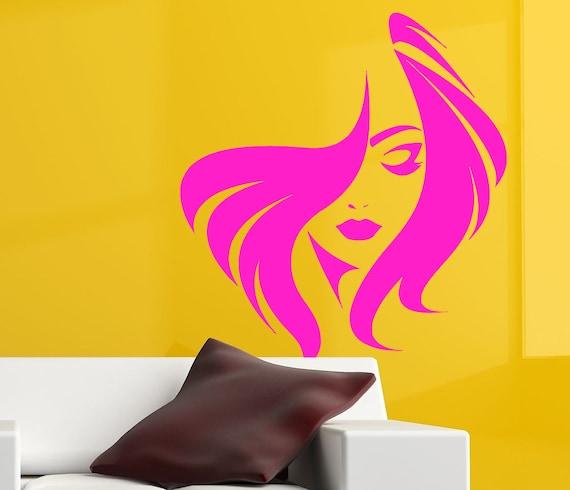 Spa Salon Decor Store Front Decal Fashion Decor Hair Salon Decal Girl Face Decal Beauty Salon Wall Decal Girl Haircut Wall Decal nm080