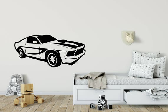 Muscle Car Wall Decal Racing Car Wall Sticker Kids Room Wall Etsy
