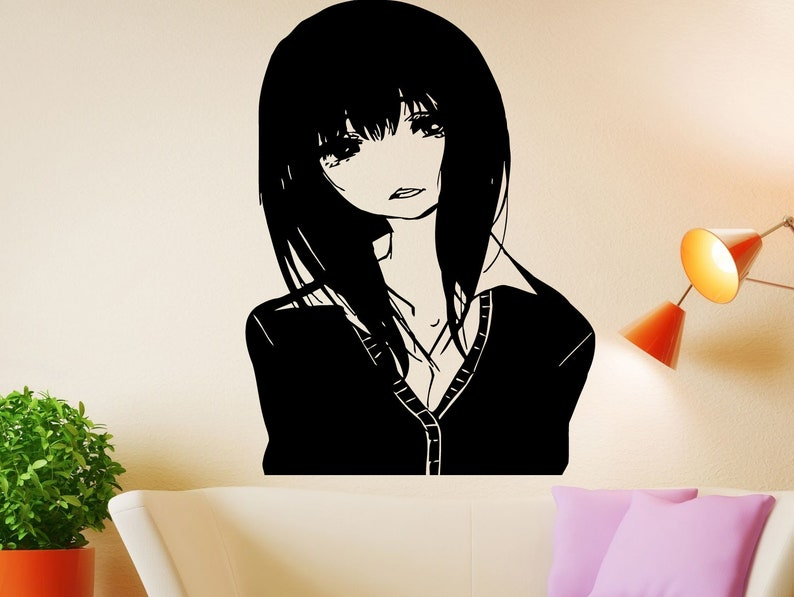 manga drawing wall decal girl face decal anime vinyl decal   etsy