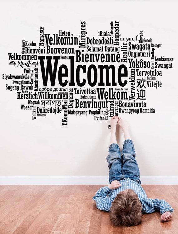 Herzlich Willkommen Sprache Zeichen Willkommen Wandtattoo Etsy