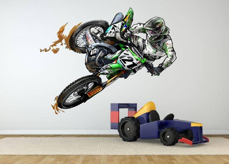 dirt bike wall decal dirt bike wall sticker motocross wall | etsy