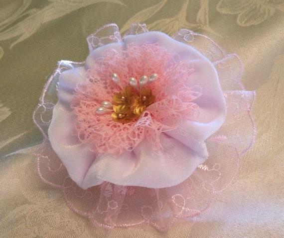 Lumière rose blanc dentelle velours grande pince à cheveux 5», accessoires de cheveux à la main, fleurs mariage, élégant holiday broches épingles à cheveux en tissu