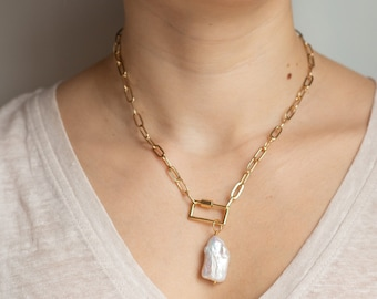 Thick link chain silver necklace with large baroque pearl pendant Birthday gift for women Contemporary jewelry Brutalist statement piece