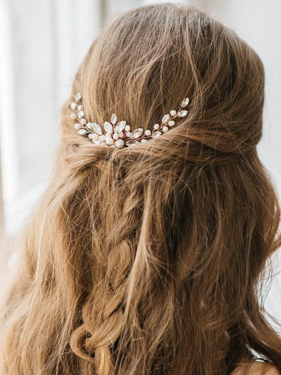 Bridal Rose Gold Hair Pin Natural Pearl Wedding Hairpiece Etsy