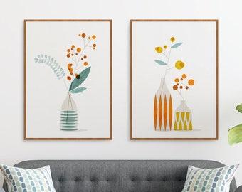 Ikebana art prints, Mid century modern floral wall art set of 2 for a Scandinavian decor, Midcentury flower print illustration, Japandi art