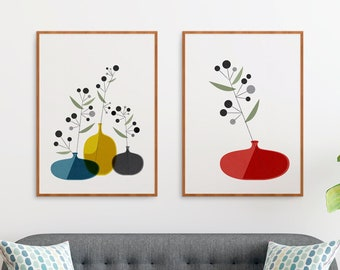 Set of 2 Mid century ikebana flower illustration prints, Nordic botanical geometric abstract wall art for a modern retro design home decor