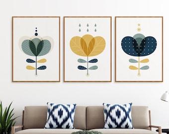 Mid century Modern wall art set of 3, Blue and mustard yellow prints, Scandinavian decor, Scandi flowers, Retro flowers print, Nordic home