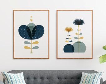 Mid century Modern 2 piece wall art, Scandinavian set floral decor, Dark Blue Botanical Scandi Retro flower prints for a Nordic design house