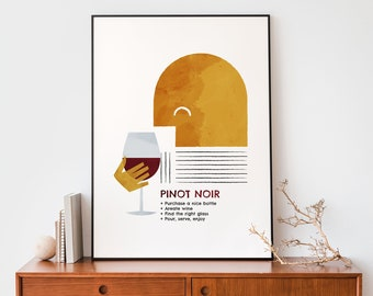 Pinot Noir print wall art, Red wine alcohol poster for a Mid century decor, Abstract kitchen illustration Modern Retro gift for wine lovers