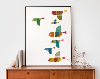 Birds Geometric colourful wall art print, Flying birds illustration, Mid century Graphic poster, birds lovers gift for modern home decor