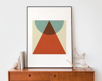 Red triangle and turquoise Mid century abstract geometric printable 50 x 70  poster, Abstract modern and colourful minimalist design decor