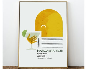 Margarita cocktail print wall art, Classic Alcoholic drink recipes prints for a Mid century decor, Abstract yellow Retro Kitchen poster gift