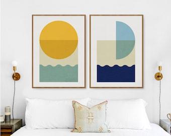 Sun and moon set of 2 Abstract prints, Boho minimalist Sea Ocean Waves and Sunrise, Boho Mid Century Mustard Yellow & Blue turquoise poster